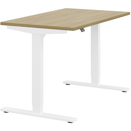 Zoom Height Adjustable Sit Stand Office Desk Plain Top W1200mmxD700mmxH685-1185mm Urban oak Top White Frame - Prevents &Reduces Muscle &Back Problems, Poor Circulation &Increases Brain Activity.