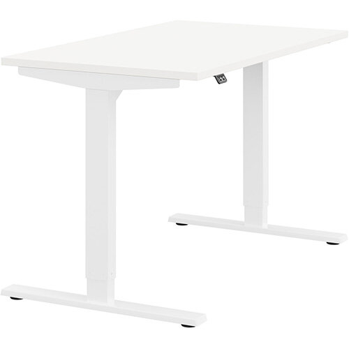 Zoom Height Adjustable Sit Stand Office Desk Plain Top W1200mmxD700mmxH685-1185mm White Top White Frame - Prevents &Reduces Muscle &Back Problems, Poor Circulation &Increases Brain Activity.