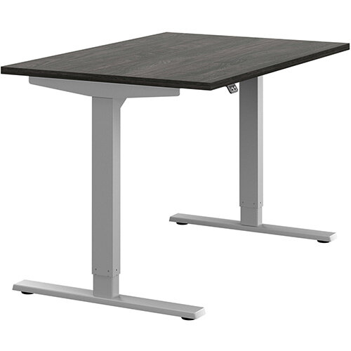 Zoom Height Adjustable Sit Stand Office Desk Plain Top W1200mmxD800mmxH685-1185mm Carbon Walnut Top Silver Frame - Prevents &Reduces Muscle &Back Problems, Poor Circulation &Increases Brain Activity.