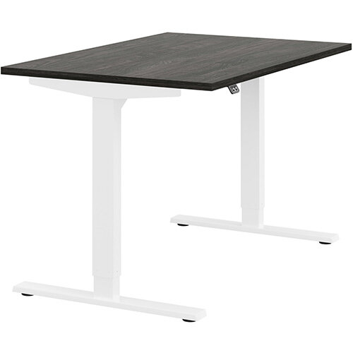 Zoom Height Adjustable Sit Stand Office Desk Plain Top W1200mmxD800mmxH685-1185mm Carbon Walnut Top White Frame - Prevents &Reduces Muscle &Back Problems, Poor Circulation &Increases Brain Activity.