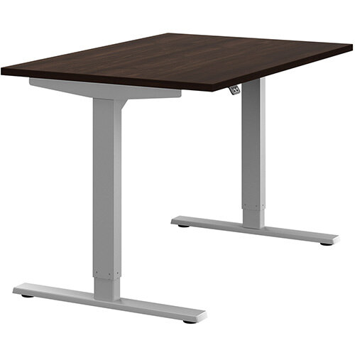 Zoom Height Adjustable Sit Stand Office Desk Plain Top W1200mmxD800mmxH685-1185mm Dark Walnut Top Silver Frame - Prevents &Reduces Muscle &Back Problems, Poor Circulation &Increases Brain Activity.
