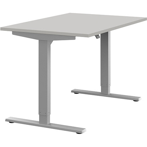 Zoom Height Adjustable Sit Stand Office Desk Plain Top W1200mmxD800mmxH685-1185mm Grey Top Silver Frame - Prevents &Reduces Muscle &Back Problems, Poor Circulation &Increases Brain Activity.