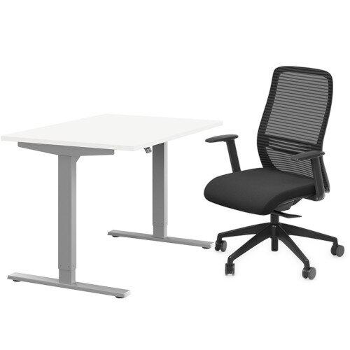 Zoom Height Adjustable Desk White W1200mm &Nv Posture Office Chair Black Bundle HuntOffice Ireland