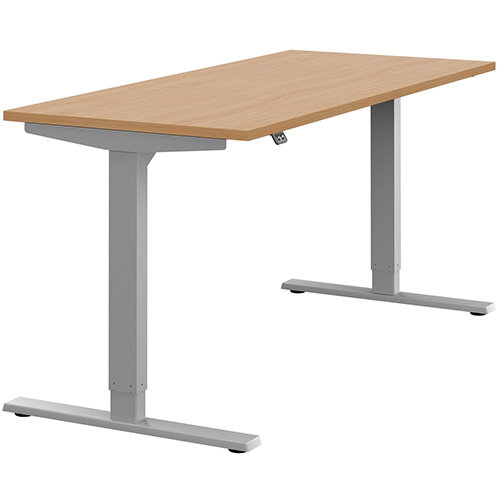Zoom Height Adjustable Sit Stand Office Desk Plain Top W1600mmxD700mmxH685-1185mm Beech Top Silver Frame - Prevents &Reduces Muscle &Back Problems, Poor Circulation &Increases Brain Activity.