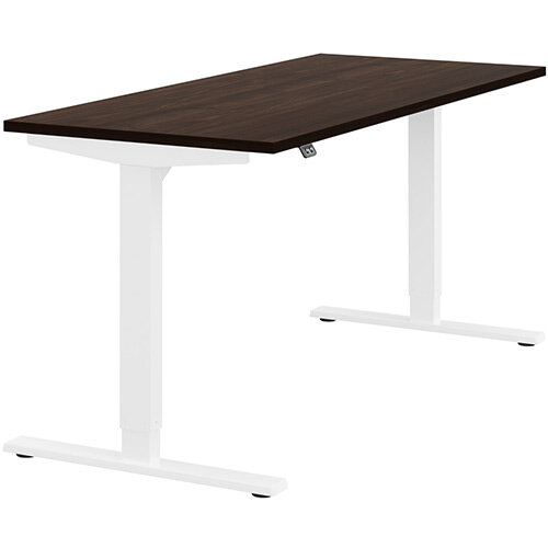 Zoom Height Adjustable Sit Stand Office Desk Plain Top W1600mmxD700mmxH685-1185mm Dark Walnut Top White Frame - Prevents &Reduces Muscle &Back Problems, Poor Circulation &Increases Brain Activity.