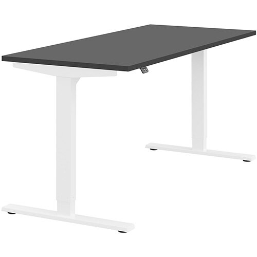 Zoom Height Adjustable Sit Stand Office Desk Plain Top W1600mmxD700mmxH685-1185mm Graphite Top White Frame - Prevents &Reduces Muscle &Back Problems, Poor Circulation &Increases Brain Activity.