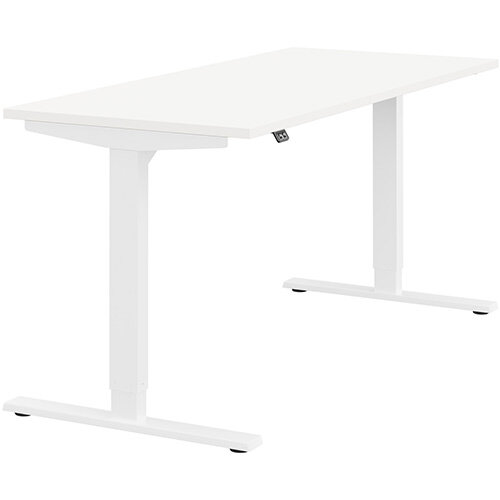 Zoom Height Adjustable Sit Stand Office Desk Plain Top W1600mmxD700mmxH685-1185mm White Top White Frame - Prevents &Reduces Muscle &Back Problems, Poor Circulation &Increases Brain Activity.