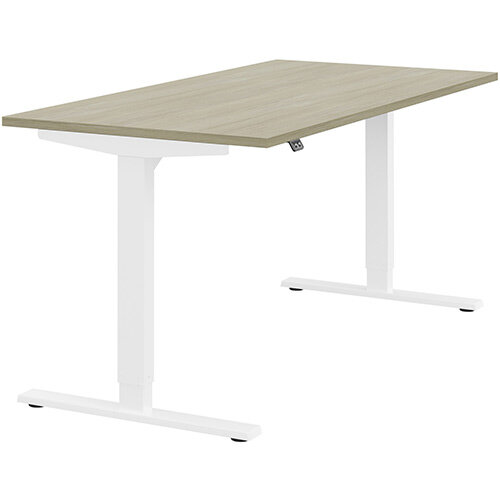 Zoom Height Adjustable Sit Stand Office Desk Plain Top W1600mmxD800mmxH685-1185mm Arctic Oak Top White Frame - Prevents &Reduces Muscle &Back Problems, Poor Circulation &Increases Brain Activity.