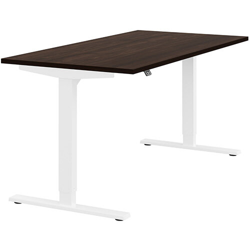 Zoom Height Adjustable Sit Stand Office Desk Plain Top W1600mmxD800mmxH685-1185mm Dark Walnut Top White Frame - Prevents &Reduces Muscle &Back Problems, Poor Circulation &Increases Brain Activity.