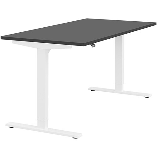 Zoom Height Adjustable Sit Stand Office Desk Plain Top W1600mmxD800mmxH685-1185mm Graphite Top White Frame - Prevents &Reduces Muscle &Back Problems, Poor Circulation &Increases Brain Activity.