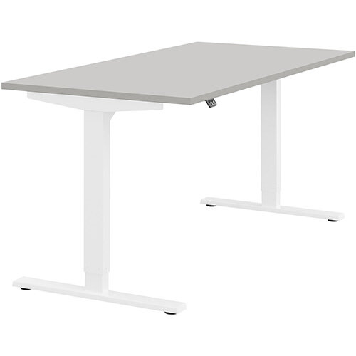 Zoom Height Adjustable Sit Stand Office Desk Plain Top W1600mmxD800mmxH685-1185mm Grey Top White Frame - Prevents &Reduces Muscle &Back Problems, Poor Circulation &Increases Brain Activity.