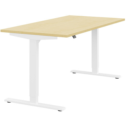 Zoom Height Adjustable Sit Stand Office Desk Plain Top W1600mmxD800mmxH685-1185mm Maple Top White Frame - Prevents &Reduces Muscle &Back Problems, Poor Circulation &Increases Brain Activity.