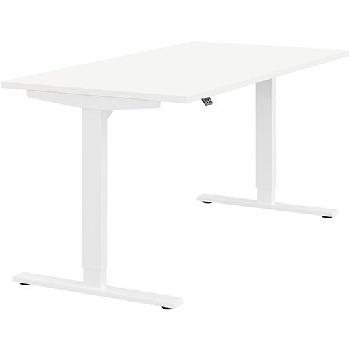 Zoom Height Adjustable Sit Stand Office Desk Plain Top W1600mmxD800mmxH685-1185mm White Top White Frame - Prevents &Reduces Muscle &Back Problems, Poor Circulation &Increases Brain Activity.
