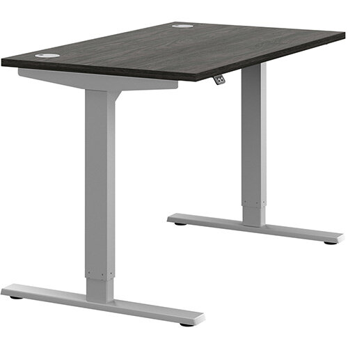 Zoom Height Adjustable Sit Stand Office Desk Portal Top W1200mmxD700mmxH685-1185mm Carbon Walnut Top Silver Frame - Prevents &Reduces Muscle &Back Problems, Poor Circulation &Increases Brain Activity.