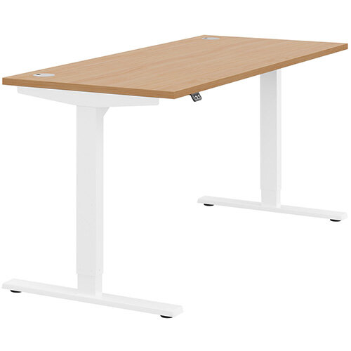 Zoom Height Adjustable Sit Stand Office Desk Portal Top W1600mmxD700mmxH685-1185mm Beech Top White Frame - Prevents &Reduces Muscle &Back Problems, Poor Circulation &Increases Brain Activity.