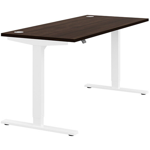 Zoom Height Adjustable Sit Stand Office Desk Portal Top W1600mmxD700mmxH685-1185mm Dark Walnut Top White Frame - Prevents &Reduces Muscle &Back Problems, Poor Circulation &Increases Brain Activity.