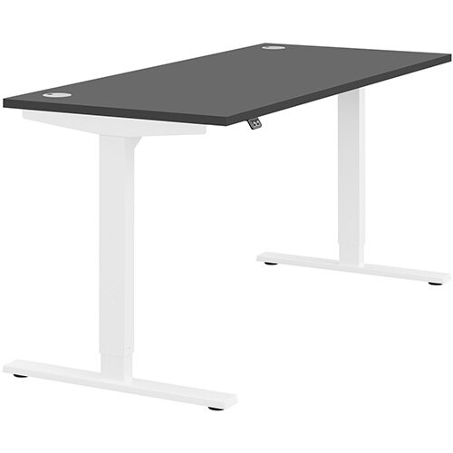 Zoom Height Adjustable Sit Stand Office Desk Portal Top W1600mmxD700mmxH685-1185mm Graphite Top White Frame - Prevents &Reduces Muscle &Back Problems, Poor Circulation &Increases Brain Activity.