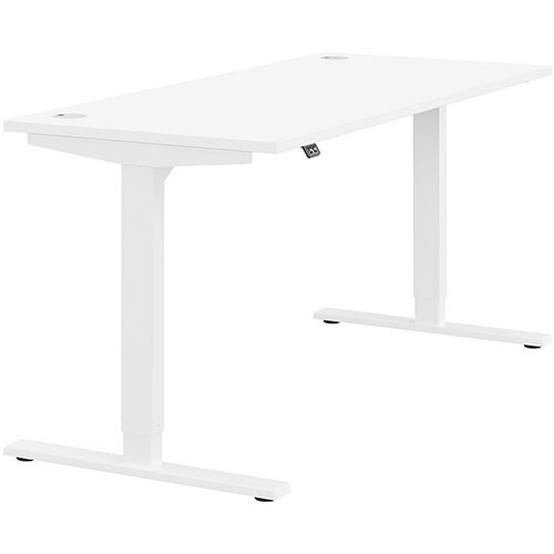 Zoom Height Adjustable Sit Stand Office Desk Portal Top W1600mmxD700mmxH685-1185mm White Top White Frame - Prevents &Reduces Muscle &Back Problems, Poor Circulation &Increases Brain Activity.