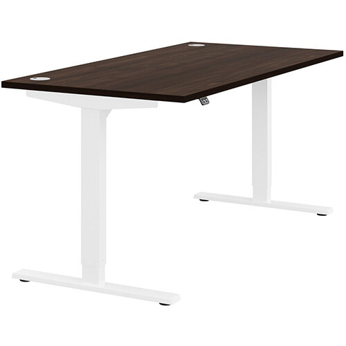 Zoom Height Adjustable Sit Stand Office Desk Portal Top W1600mmxD800mmxH685-1185mm Dark Walnut Top White Frame - Prevents &Reduces Muscle &Back Problems, Poor Circulation &Increases Brain Activity.
