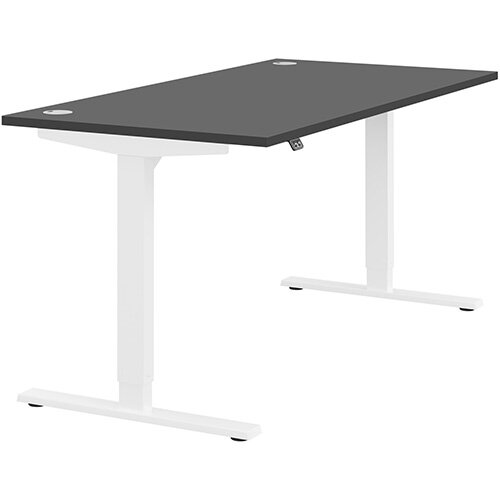 Zoom Height Adjustable Sit Stand Office Desk Portal Top W1600mmxD800mmxH685-1185mm Graphite Top White Frame - Prevents &Reduces Muscle &Back Problems, Poor Circulation &Increases Brain Activity.