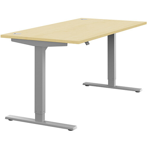 Zoom Height Adjustable Sit Stand Office Desk Portal Top W1600mmxD800mmxH685-1185mm Maple Top Silver Frame - Prevents &Reduces Muscle &Back Problems, Poor Circulation &Increases Brain Activity.
