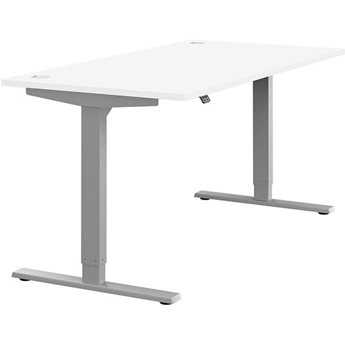 Zoom Height Adjustable Sit Stand Office Desk Portal Top W1600mmxD800mmxH685-1185mm White Top Silver Frame - Prevents &Reduces Muscle &Back Problems, Poor Circulation &Increases Brain Activity.