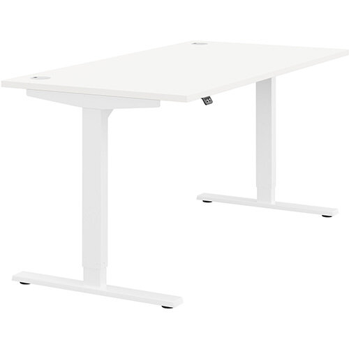 Zoom Height Adjustable Sit Stand Office Desk Portal Top W1600mmxD800mmxH685-1185mm White Top White Frame - Prevents &Reduces Muscle &Back Problems, Poor Circulation &Increases Brain Activity.