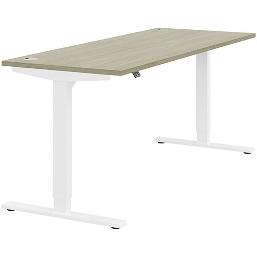 Zoom Height Adjustable Sit Stand Office Desk Portal Top W1800mmxD700mmxH685-1185mm Arctic Oak Top White Frame - Prevents &Reduces Muscle &Back Problems, Poor Circulation &Increases Brain Activity.