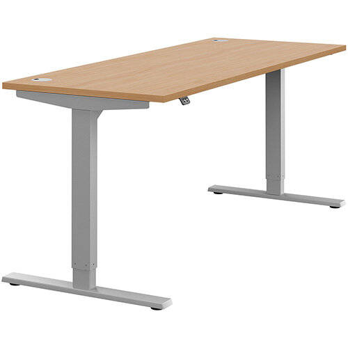 Zoom Height Adjustable Sit Stand Office Desk Portal Top W1800mmxD700mmxH685-1185mm Beech Top Silver Frame - Prevents &Reduces Muscle &Back Problems, Poor Circulation &Increases Brain Activity.