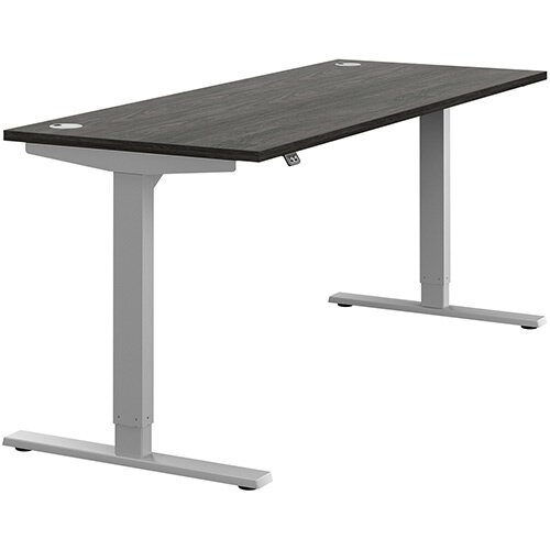 Zoom Height Adjustable Sit Stand Office Desk Portal Top W1800mmxD700mmxH685-1185mm Carbon Walnut Top Silver Frame - Prevents &Reduces Muscle &Back Problems, Poor Circulation &Increases Brain Activity.