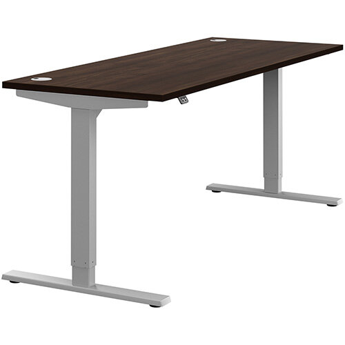 Zoom Height Adjustable Sit Stand Office Desk Portal Top W1800mmxD700mmxH685-1185mm Dark Walnut Top Silver Frame - Prevents &Reduces Muscle &Back Problems, Poor Circulation &Increases Brain Activity.