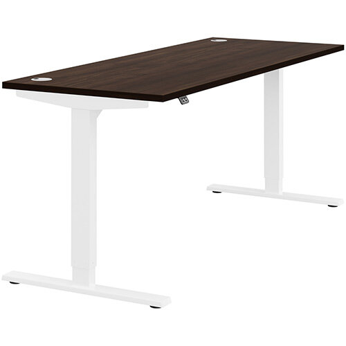 Zoom Height Adjustable Sit Stand Office Desk Portal Top W1800mmxD700mmxH685-1185mm Dark Walnut Top White Frame - Prevents &Reduces Muscle &Back Problems, Poor Circulation &Increases Brain Activity.