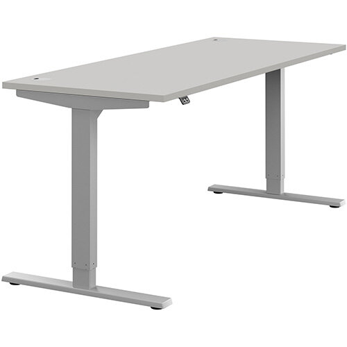Zoom Height Adjustable Sit Stand Office Desk Portal Top W1800mmxD700mmxH685-1185mm Grey Top Silver Frame - Prevents &Reduces Muscle &Back Problems, Poor Circulation &Increases Brain Activity.