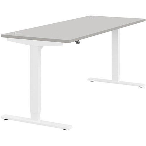 Zoom Height Adjustable Sit Stand Office Desk Portal Top W1800mmxD700mmxH685-1185mm Grey Top White Frame - Prevents &Reduces Muscle &Back Problems, Poor Circulation &Increases Brain Activity.