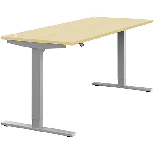 Zoom Height Adjustable Sit Stand Office Desk Portal Top W1800mmxD700mmxH685-1185mm Maple Top Silver Frame - Prevents &Reduces Muscle &Back Problems, Poor Circulation &Increases Brain Activity.