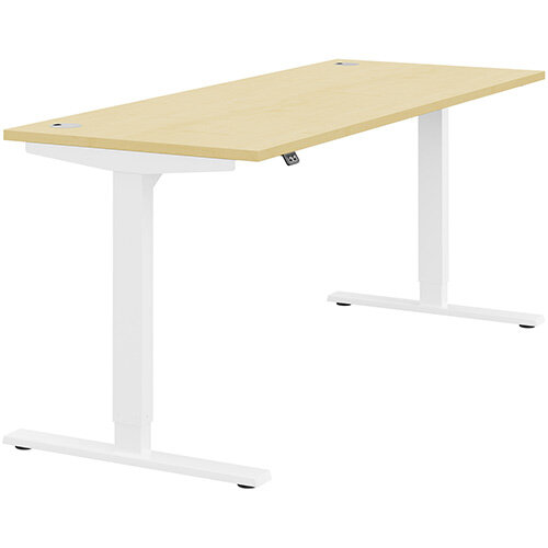 Zoom Height Adjustable Sit Stand Office Desk Portal Top W1800mmxD700mmxH685-1185mm Maple Top White Frame - Prevents &Reduces Muscle &Back Problems, Poor Circulation &Increases Brain Activity.
