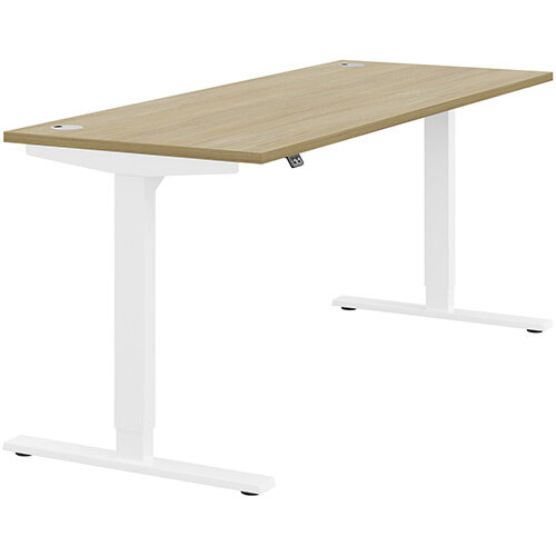 Zoom Height Adjustable Sit Stand Office Desk Portal Top W1800mmxD700mmxH685-1185mm Urban oak Top White Frame - Prevents &Reduces Muscle &Back Problems, Poor Circulation &Increases Brain Activity.
