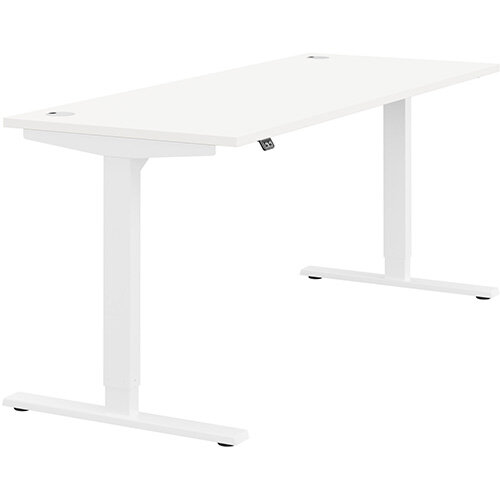 Zoom Height Adjustable Sit Stand Office Desk Portal Top W1800mmxD700mmxH685-1185mm White Top White Frame - Prevents &Reduces Muscle &Back Problems, Poor Circulation &Increases Brain Activity.