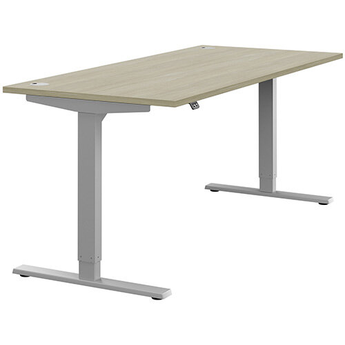 Zoom Height Adjustable Sit Stand Office Desk Portal Top W1800mmxD800mmxH685-1185mm Arctic Oak Top Silver Frame - Prevents &Reduces Muscle &Back Problems, Poor Circulation &Increases Brain Activity.