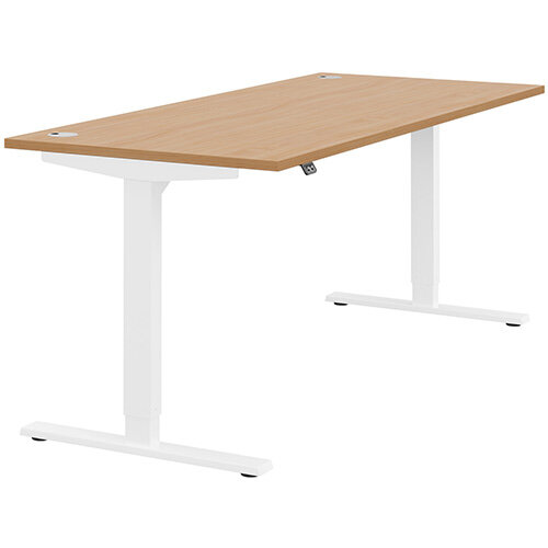 Zoom Height Adjustable Sit Stand Office Desk Portal Top W1800mmxD800mmxH685-1185mm Beech Top White Frame - Prevents &Reduces Muscle &Back Problems, Poor Circulation &Increases Brain Activity.