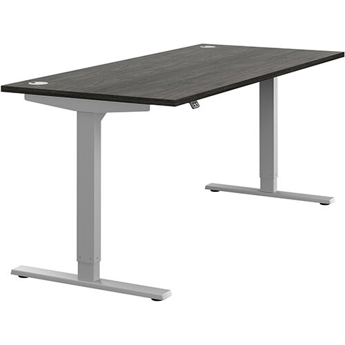 Zoom Height Adjustable Sit Stand Office Desk Portal Top W1800mmxD800mmxH685-1185mm Carbon Walnut Top Silver Frame - Prevents &Reduces Muscle &Back Problems, Poor Circulation &Increases Brain Activity.