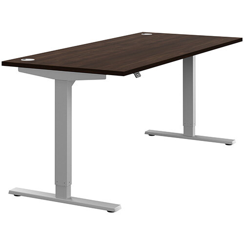 Zoom Height Adjustable Sit Stand Office Desk Portal Top W1800mmxD800mmxH685-1185mm Dark Walnut Top Silver Frame - Prevents &Reduces Muscle &Back Problems, Poor Circulation &Increases Brain Activity.