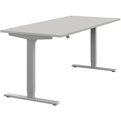 Zoom Height Adjustable Sit Stand Office Desk Portal Top W1800mmxD800mmxH685-1185mm Grey Top Silver Frame - Prevents &Reduces Muscle &Back Problems, Poor Circulation &Increases Brain Activity.