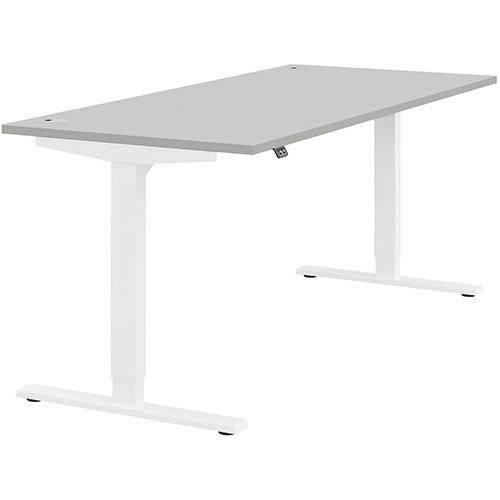Zoom Height Adjustable Sit Stand Office Desk Portal Top W1800mmxD800mmxH685-1185mm Grey Top White Frame - Prevents &Reduces Muscle &Back Problems, Poor Circulation &Increases Brain Activity.