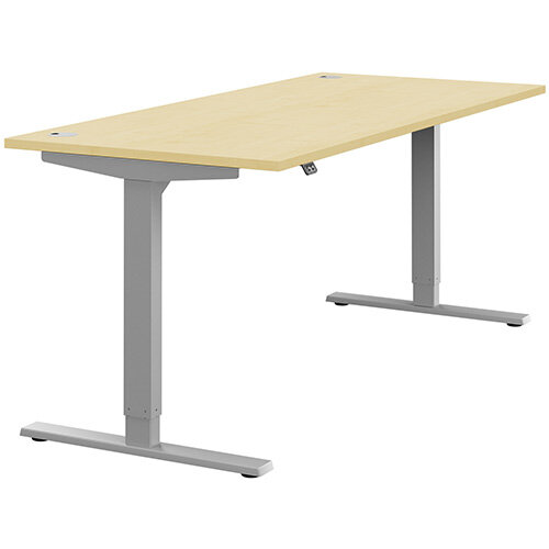 Zoom Height Adjustable Sit Stand Office Desk Portal Top W1800mmxD800mmxH685-1185mm Maple Top Silver Frame - Prevents &Reduces Muscle &Back Problems, Poor Circulation &Increases Brain Activity.