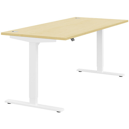Zoom Height Adjustable Sit Stand Office Desk Portal Top W1800mmxD800mmxH685-1185mm Maple Top White Frame - Prevents &Reduces Muscle &Back Problems, Poor Circulation &Increases Brain Activity.