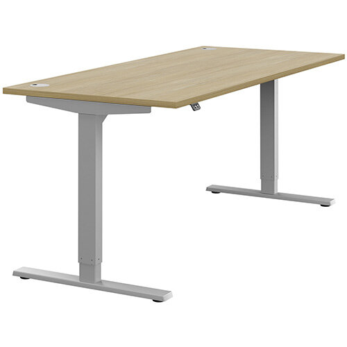 Zoom Height Adjustable Sit Stand Office Desk Portal Top W1800mmxD800mmxH685-1185mm Urban Oak Top Silver Frame - Prevents &Reduces Muscle &Back Problems, Poor Circulation &Increases Brain Activity.