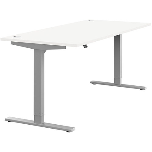 Zoom Height Adjustable Sit Stand Office Desk Portal Top W1800mmxD800mmxH685-1185mm White Top Silver Frame - Prevents &Reduces Muscle &Back Problems, Poor Circulation &Increases Brain Activity.