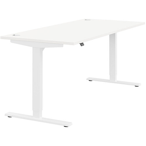 Zoom Height Adjustable Sit Stand Office Desk Portal Top W1800mmxD800mmxH685-1185mm White Top White Frame - Prevents &Reduces Muscle &Back Problems, Poor Circulation &Increases Brain Activity.