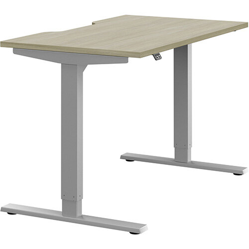 Zoom Height Adjustable Sit Stand Office Desk Scallop Top W1200mmxD700mmxH685-1185mm Arctic Oak Top Silver Frame - Prevents &Reduces Muscle &Back Problems, Poor Circulation &Increases Brain Activity.